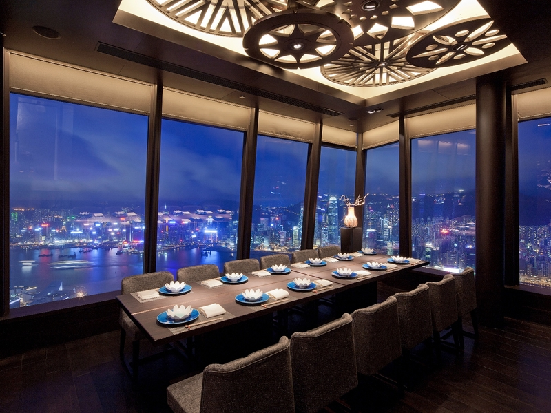 private dining area with the famous night view of hong kong