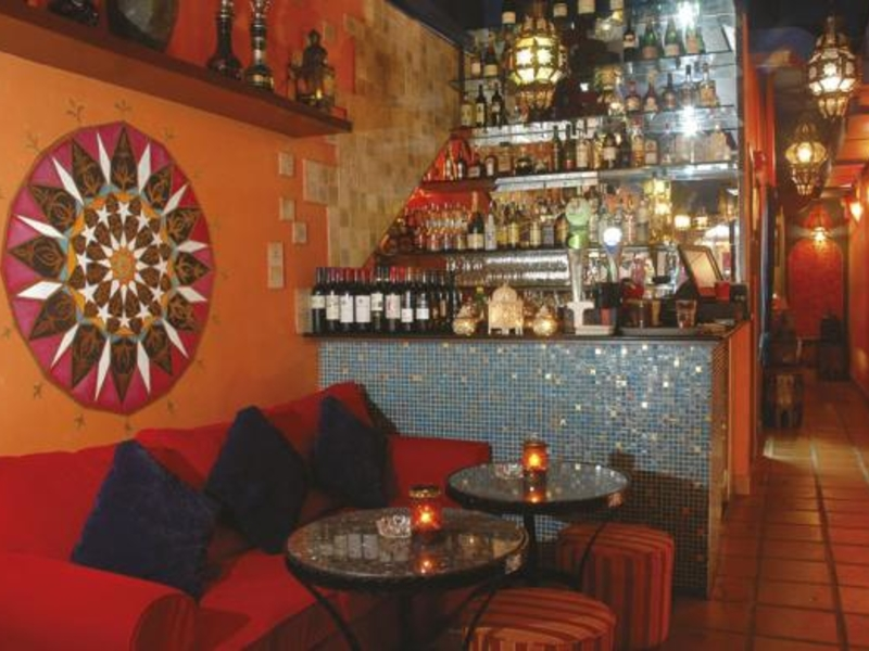 restaurant with arabic style lamps and decoration