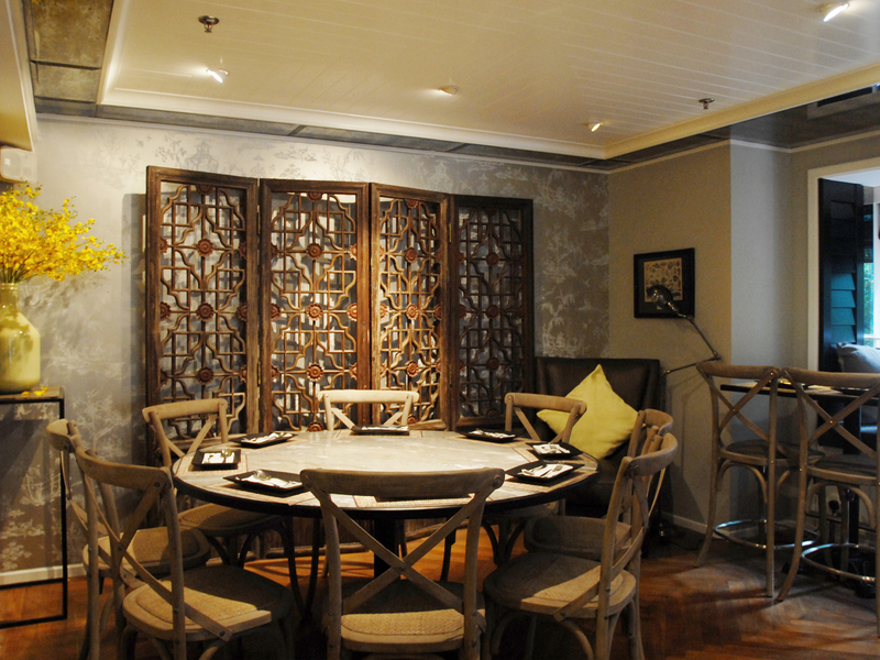 private room for business meeting with wooden art inside