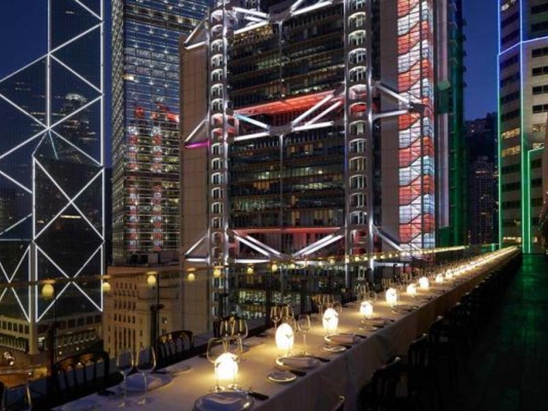 sevva rooftop bar romantic dining setup