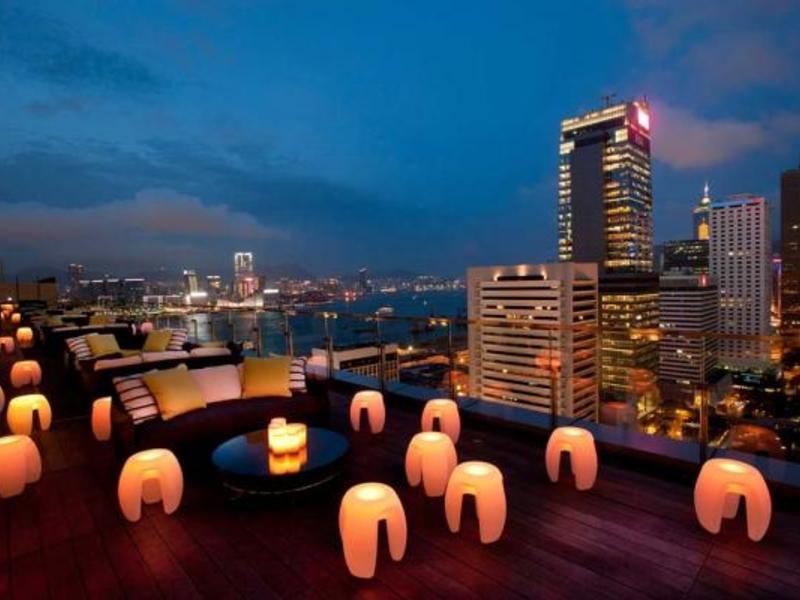 sevva rooftop lanterns overlooking hongkong city