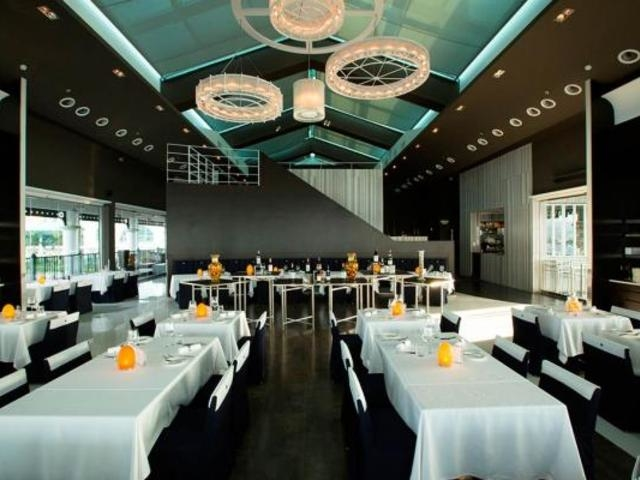 main dining area of watermark party with chandeliers