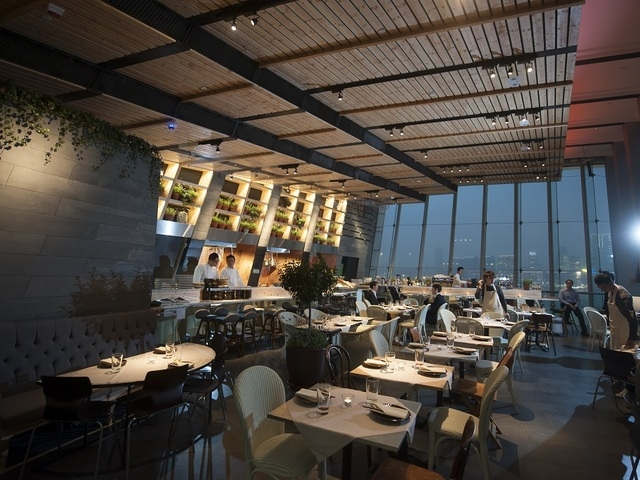 main dining space area featuring the spectacular view of hong kong