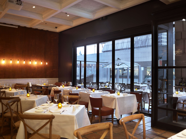 indoor italian restaurant with floor to ceiling window