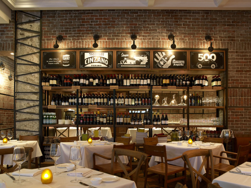 italian restaurant with wine and alcohol drinks area