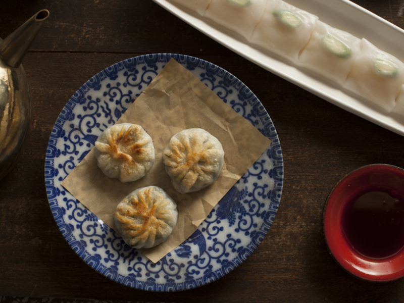 chinese buns on porcelain plate