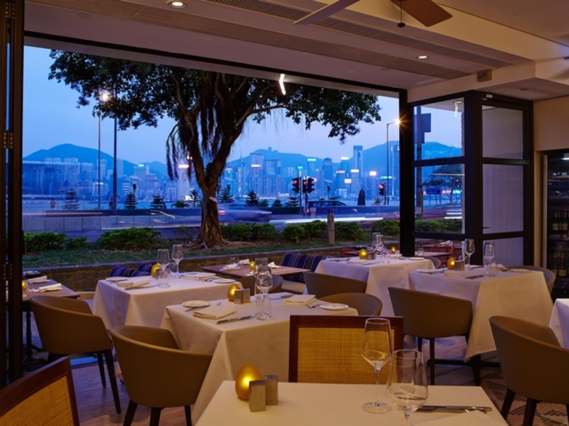 romantic dining setting overlooking hong kong city
