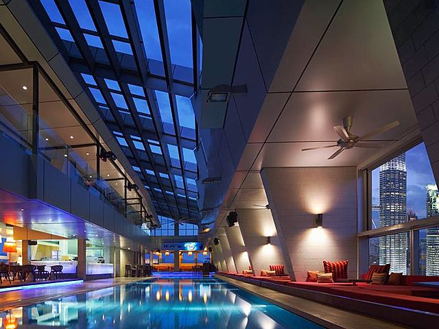 luxury birthday party bar in kuala lumpur with large indoor pool and sky view