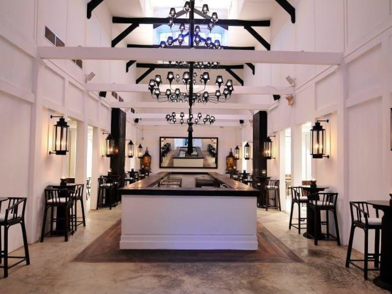 large event venue in singapore with black and white interior