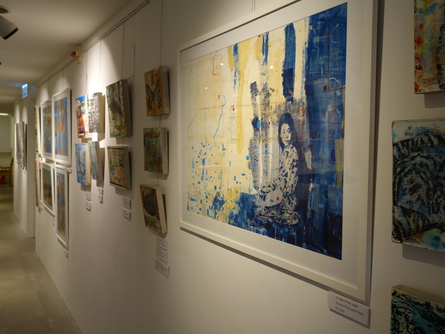 painting exhibits hanged onw all