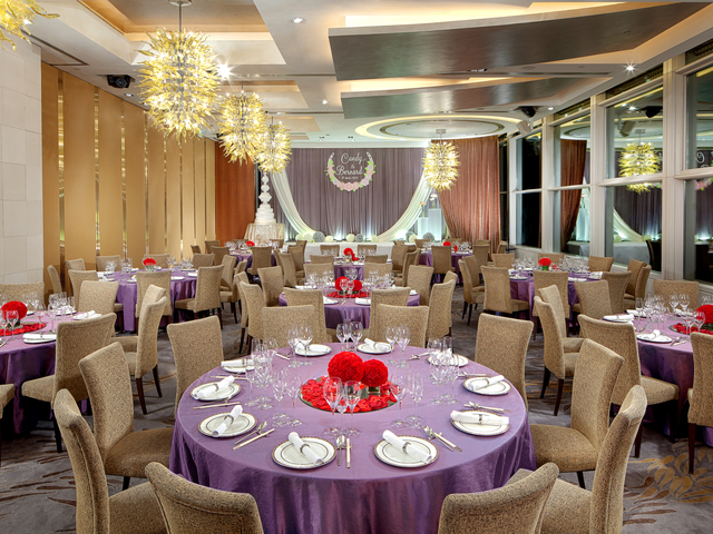 private function room with banquet style and stage for wedding