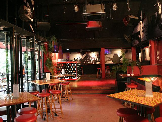 interior with red domination colour for bar