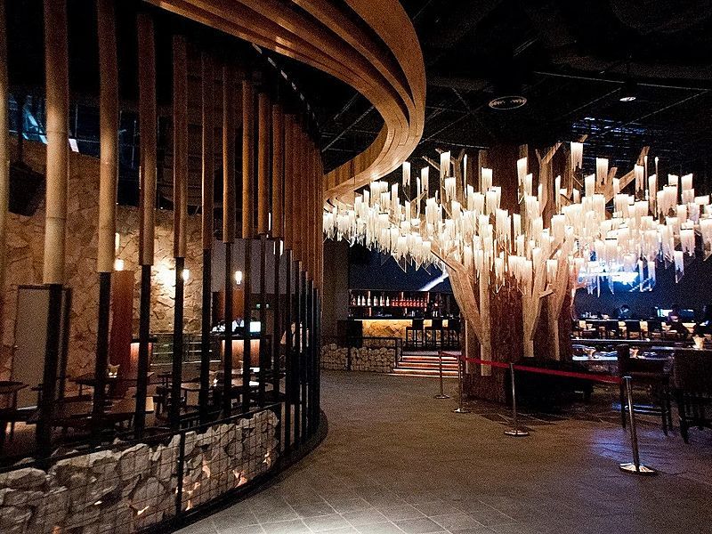 selangor large restaurant decorated with giant tree lamps