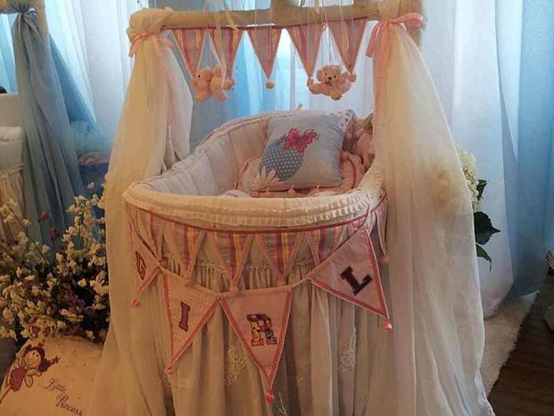 baby box for baby girl with bunting flag and curtain