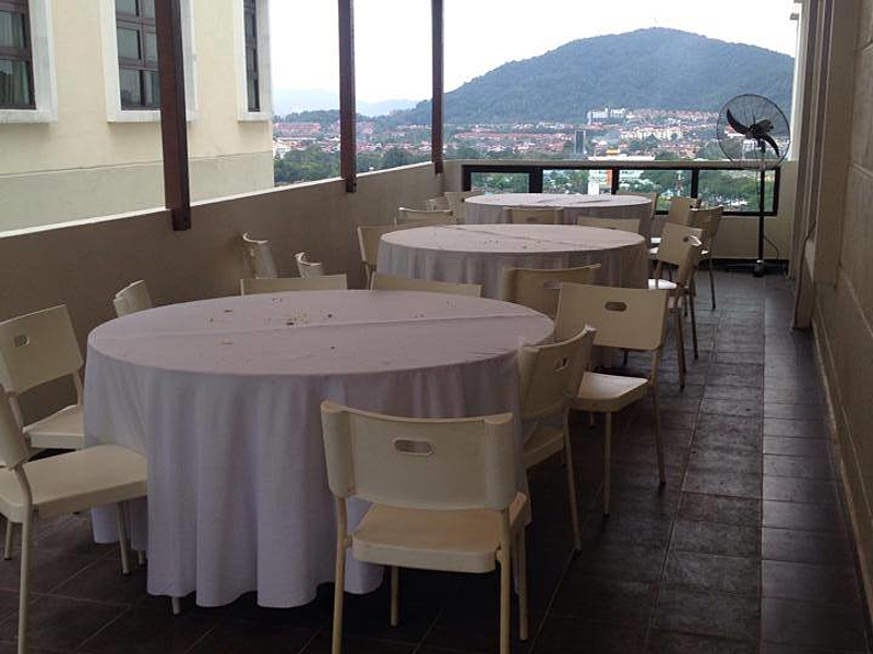 roundtable meeting setting with city view