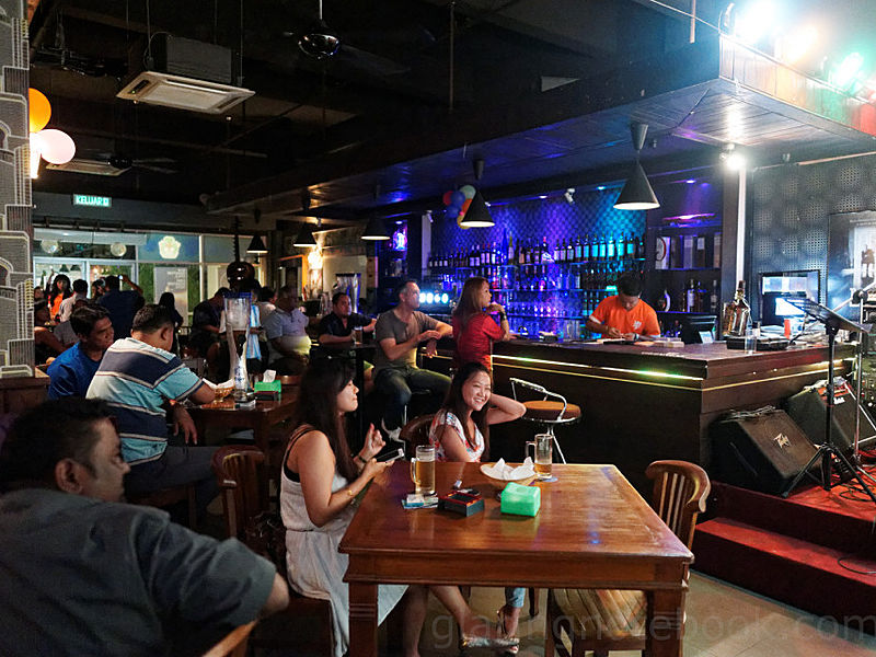 restaurant and bar area during happy hour