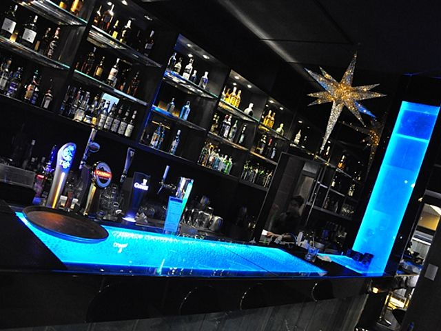 unique bar with blue lighting