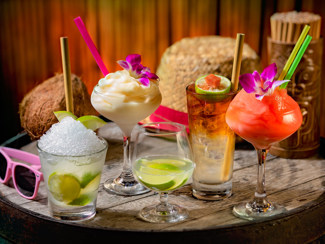 various of beautiful drink options served on the round wooden table