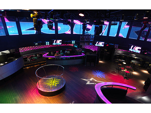 party club with giant led screen