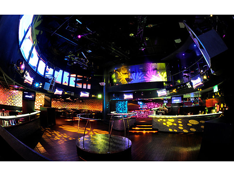 kuala lumpur night club with gobos lighting and long led screen