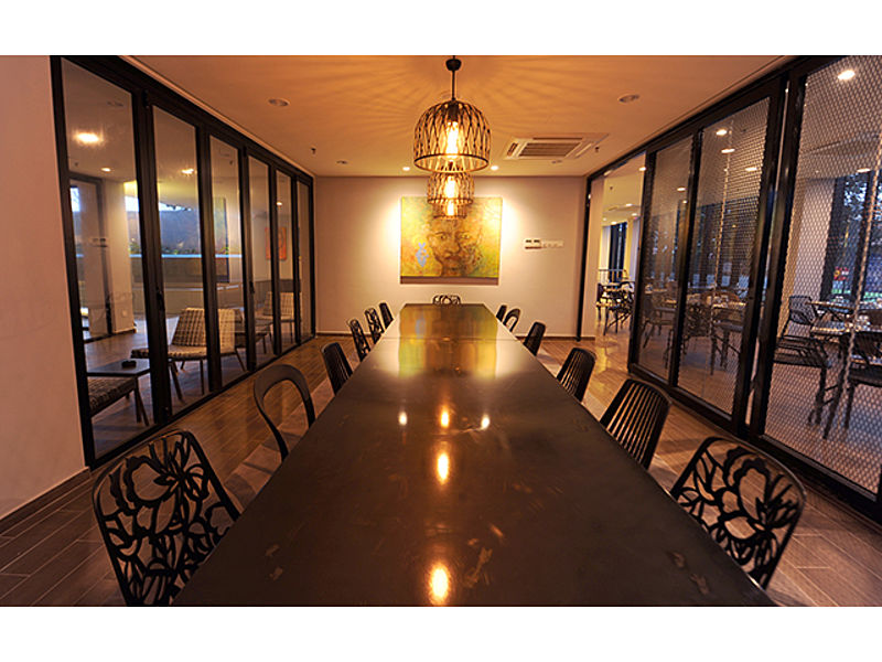 private room for meeting with glass door and long table