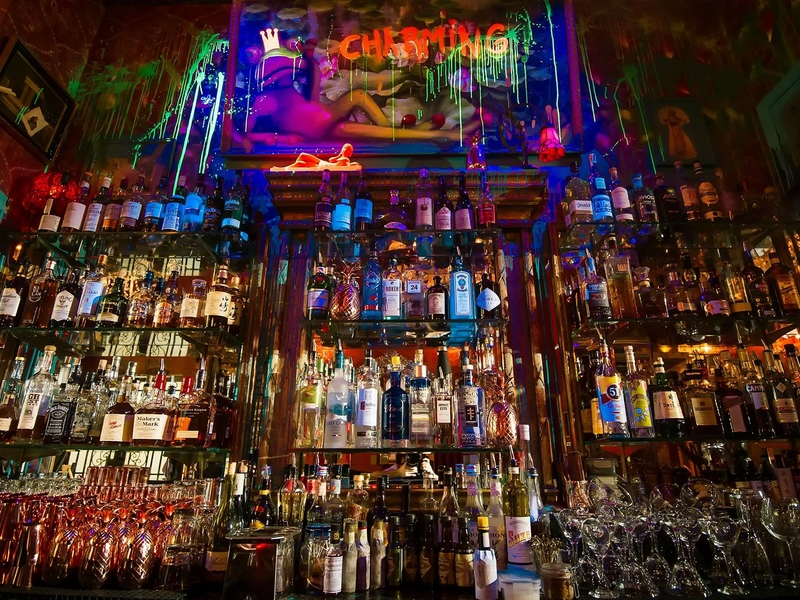 bar with various selection of alcohol drinks and spirits