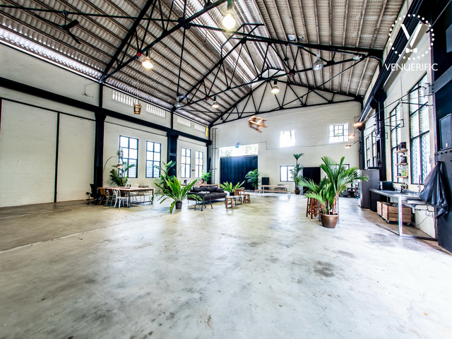 large wedding warehouse in singapore with black and white interior