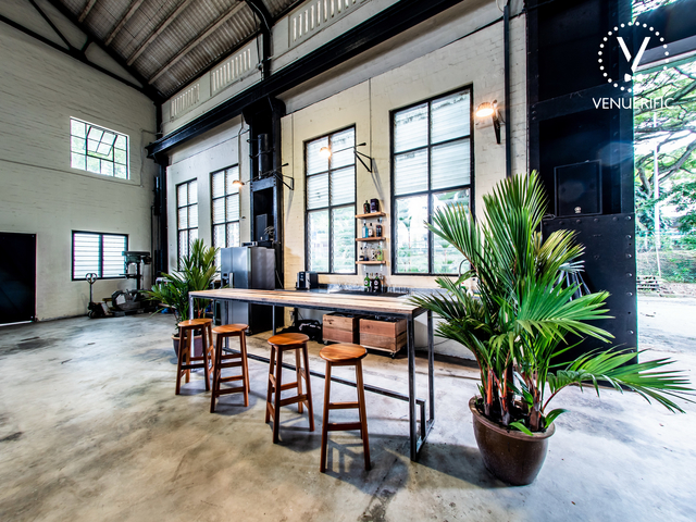 large birthday venue in singapore with black and white interior