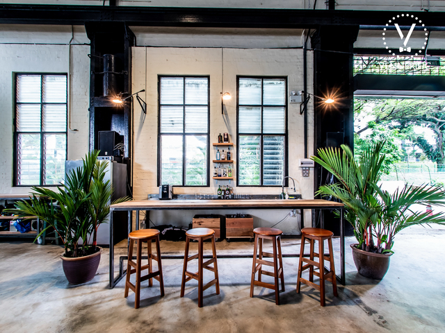 large windows and bar table in singapore bachelor party venue